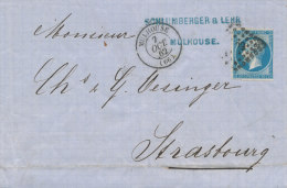 N°14 SUR LETTRE NUANCE , TYPE , CACHET A DATE . - 1853-1860 Napoléon III