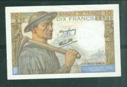 10 Francs Mineur 26-11-1942 NEUF ( ( Legère Froissure Bord Du Haut )  -   Laubi 05 - 1871-1952 Anciens Francs Circulés Au XXème