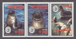 Guyana 1993 Sierra Club Centennial - Sea Lion, Marine Life, Animals, Leone Marino 3v.(S/S Of 9) MNH - Guyane (1966-...)