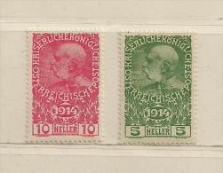 AUTRICHE  (D16L - 1171 )  1914   N° YVERT ET TELLIER  N° 136/137   N* - Unused Stamps