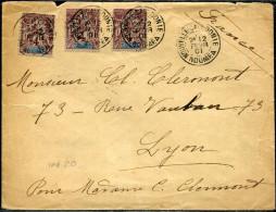NOUVELLE CALÉDONIE - N° 55 (3) / LETTRE DE NOUMEA LE 12/2/1901, POUR LYON - TB & RARE - Briefe U. Dokumente