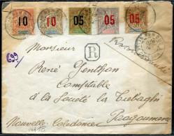 NOUVELLE CALÉDONIE - N° 105 A 109/ LR DE NEHOUE LE 18/12/1914, POUR PAAGOUMENE - B & RARE - Neukaledonien
