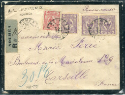 NOUVELLE CALÉDONIE - N° 92 + 93 (3)/ LR DE NOUMEA LE 23/5/1919, POUR MARSEILLE - TB - Briefe U. Dokumente
