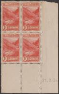 Andorre Français 1938 Mi 69 Y&T 74. Bloc De 4, Coin Daté 21.3.38 Gorge De Ste Julia. Neuf Sans Charnière MNH - Andorre Français
