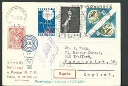 "1960. REGISTERED POSTCARD, FREE BALLOON  POST  RACE, "" BALON  POZNAN "" - Ballonpost"