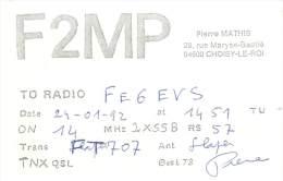 CARTE QSL : RADIO AMATEUR . FRANCE . CHOISY LE ROI. 1992 . - Radio Amateur