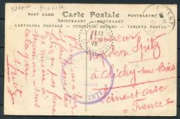 1915 France Tunisia Nabeul Postcarte Bizerte Hospital Militaire Fieldpost Feldpost - Clichy Sous Bois Seine-et-Oise - Covers & Documents