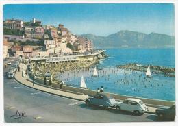 CP, 13, MARSEILLE, Promenade De La Corniche, Plage Du Prophète ( Présence De 2cv), écrite, Voyagé En 1977 - Endoume, Roucas, Corniche, Playas