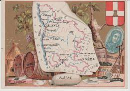 Petite Carte De  Région 11,5 Par 8,5  Cm :drôme : Nyons, Valence, Die,montelimart, Etc...