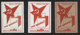 POLAND SOLIDARITY POCZTA SOLIDARNOSC 1985 DON'T VOTE SET OF 3 ELECTIONS PROTEST BALLOT BOX HAMMER SICKLE - Vignette Solidarnosc