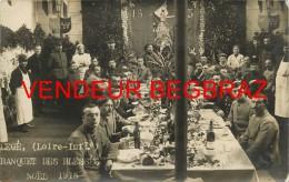 LEGE    CARTE PHOTO  SUPERBE  BANQUET LES BLESSES NOEL 1915  WW1  GUERRE - Legé