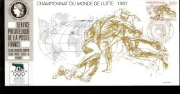 FRANCE CAHMPIONAT DU MONDE DEE LUTTE 1987 CON ANNULLO SPECIALE OLIMPHILEX - Lotta