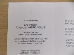 Doodsprentje Marcel Vermout Moeskroen 23/6/1904 Vilvoorde 11/6/1994 ( Madeleine Osaer ) - Religión & Esoterismo