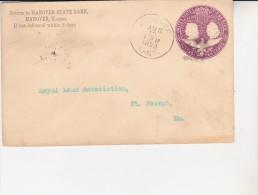 ETATS UNIS- LETTRE- ENTIER POSTAL 1893- CAD HANOVER - KANSAS   TTB - ...-1900