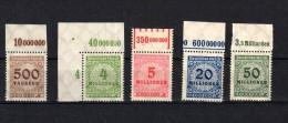 Deutsches Reich/DR-Infla Mi.313, 316,317,319,321  ** MNH POSTFRISCH,Oberrand,  S. Scan - Deutschland
