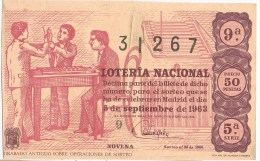 9419. Billete Loteria Nacional 5 Septiembre 1963. Operaciones Sorteo - Billetes De Lotería