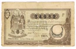 9422. Billete Loteria Nacional 1 Agosto 1940 - Billetes De Lotería