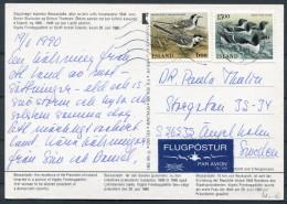 1990 Iceland Bessastadir President Finnbogadottir Birds Postcard - Sweden - 1944-... Republique