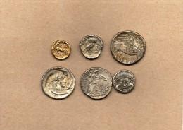 """6 Pièces En Métal Collection BP   """"Trésor Des Monnaies Antiques"""" - Advertising"""