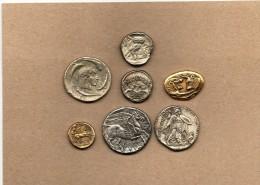 """7 Pièces En Métal Collection BP   """"Trésor Des Monnaies Antiques"""" - Advertising"""