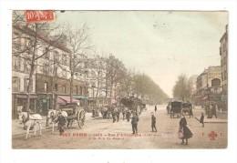 CPA :75020 - Paris : Rue D´Allemagne à La Rue De Meaux : Animation - Attelages - Immeubles - Magasins - Colorisée - Arrondissement: 20