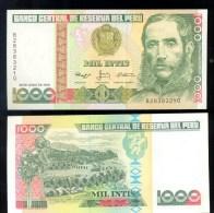 PERU * 1000 INTIS YEAR 1988 * P 136b * UNC BANKNOTE - Peru