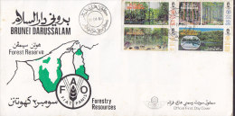 Brunei Ersttags Brief FDC Cover 1984 Forstwirtschaft Forest Reserve FAO Fiat Panis Forestry Resources Complete Set !! - Brunei (1984-...)