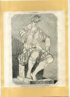 - IL PENSIERO (michel Ange) . GRAVURE SUR BOIS  DU XIXe S . DECOUPEE ET COLLEE SUR PAPIER . - Sculptures