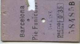 BILLETE DEL TREN DE BARCELONA A SARRIA (PIE DEL FUNICULAR) / 1920 / (N) - Trenes