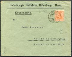 1923 Germany Rotenburger Oelfabrik Rotenburg I. Hann / Oil Factory - Wine Dealer Sulzbach Oberpfalz Brief - Allemagne