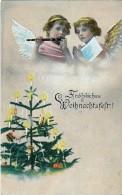 AK ENGEL ANGEL WEIHNACHTEN Zwei Engel Spielen Auf Flöten Und Weihnachtsbäume ALTE POSTKARTEN 1922 - Anges