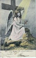 AK ENGEL ANGEL ANGEL Mädchen Im Gebet MIT KREUZ  ALTE POSTKARTEN 1904 - Anges