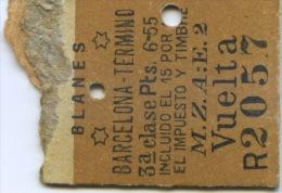 BILLETE DE FERROCARRIL M.Z.A. IDA Y VUELTA DE BLANES A BARCELONA  / (N) - Trenes