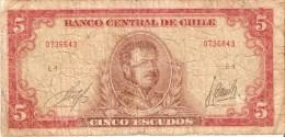 BILLETE DE CHILE DE 5 ESCUDOS DE MANUEL BULNES (BANK NOTE) - Chile