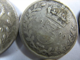UK GREAT BRITAIN 3 PENCE VICTORIA  THREEPENCE SILVER YEARS AROUND 1895 ALL 6 COINS . LOT 25 NUM 6 - 1816-1901 : Frappes XIX° S.
