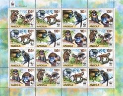 (WWF-483) W.W.F. Angola Guenons MNH Perf Sheetlet 2011 - W.W.F.