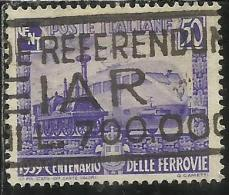 ITALIA REGNO ITALY KINGDOM 1939 CENTENARIO FERROVIE ITALIANE ITALIAN RAILWAYS CENTENARY CENT. 50 USATO USED - 1900-44 Vittorio Emanuele III