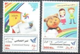 Iran  Children And Post - Customized Stamp -  Mi 3189-3190 - Iran