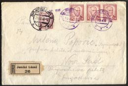 CZECHOSLOVAKIA - SLOVENSKO - Recomm.letter.  JANSKE LAZNE + Franking BRATISLAVA To NOVI SAD - 1946 -RARE - Cartas