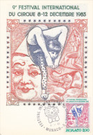 Carte Maximum  1er Jour  MONACO   FESTIVAL  INTERNATIONAL  Du  CIRQUE    1983 - Circus