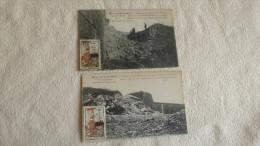 2 CARTES ...FORT DE VAUX.....AVEC ETIQUETTE JOURNEE DE LA MEUSE.... - Guerre 1914-18