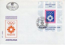 YUGOSLAVIA 1983 Winter Olympics Block FDC With Belgrade Postmark.  Michel Block 22 - FDC
