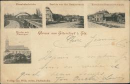 67 ETTENDORF / Eisenbahnbrücke, Parthie Von Der Hauptstrasse, Eisenbahn-Stations-Gebäu De, Kirche Mit Pfarrhaus / - France