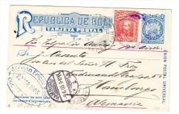 Bolivien UPU Ganzsachen AK  Mit Zusatzfrankatur 9.6.1905 Nach Hamburg - Bolivie
