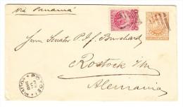 Bolivien GZ Brief Mit Zusatzfrankatur 16.2.1893 Nach Rostock D -Durschgangs-O Lima Und AK-St. - Bolivie