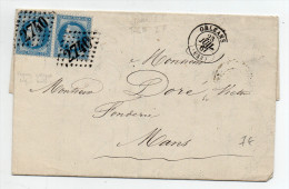 1867 - LETTRE Avec N°29 EN PAIRE De ORLEANS (LOIRET) Avec GC 2740 - Marcophilie (Lettres)