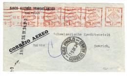 Brasilien - Zeppelin Brief 19.9.1934 Von Sao Paulo 5 X 1000 Reis Freistempel Nach Bank In Zürich - Luftpost
