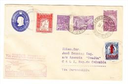 1932 Zeppelin Südamerika Flug 24.11.32 Mischfrankatur Brasilien Colombia Dabei Ganzsachenausschnitt - Colombie