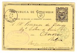 Kolumbien - UPU Ganzsache Bogota 1892 Nach Anvers B - Bedruckt Mit Briefmarken Angebot - Ligne D - Colombie