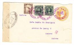 Costa Rica Zensur Ganzsachen Brief Mit Zusatzfrankatur 27.5.1917 Von San José Nach Genf - Costa Rica